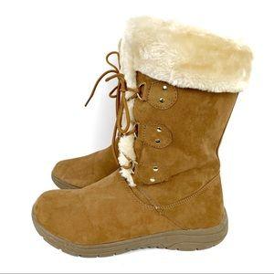 St. John's Bay Chase Tan Faux Fur Boots Size 9